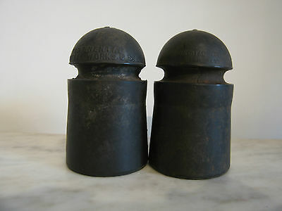Pair of Vintage Antique Continental Rubber Works R-4 Insulators