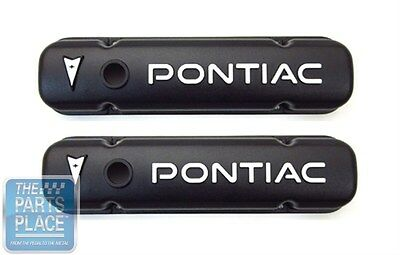1959-79 Pontiac Black Aluminum Valve Covers - Pair