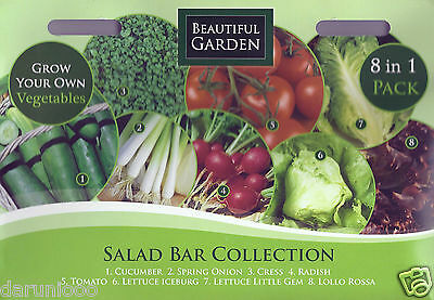 Grow Your Own Salads/vegetables ,8 In One Mixed Variety Pack