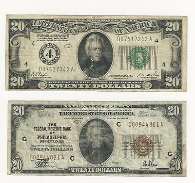 Lot Of Two 20 Dollar Notes 1928 & 1929 National And Federal Reserve Notes
