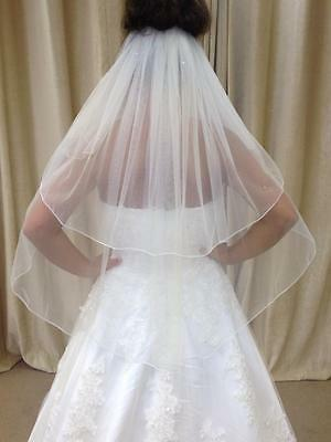 Ivory/White 2 Tier Waist Length Bridal Wedding Veil With Crystals Pencil Edge