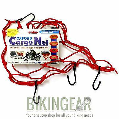 Oxford Motorcycle Motorbike Strong Elasticated Cargo Net Luggage Carrier - Red