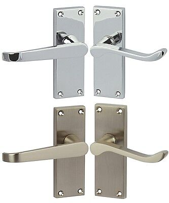 Victorian Scroll & Straight Satin chrome & Polished Chrome Lever Door Handles