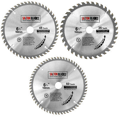 3x Saxton TCT Circular Wood Saw Blades 160mm x 20mm Festool TS55, Makita Pack C