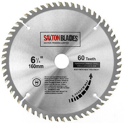 Saxton TCT Circular Saw Wood Blade 160mm x 20mm x 60T for Festool TS55, Makita