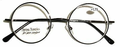 Round Metal Reading Glasses  With Spring Hinge At Temples