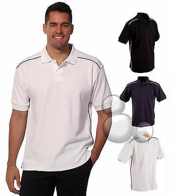 Mens Piping Polo Size S M L XL 2XL 3XL 4XL 5XL Navy White Black Work Shirt Top!