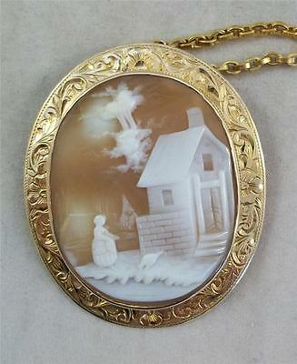 c Circa 1880-1900 Antique 14kt Yellow Gold Hand Carved Cameo Pendant Brooch