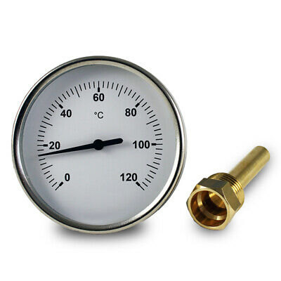 Bimetall- Thermometer Zeigerthermometer 0°C - 120°C, inklusive Tauchhülse 1/2""