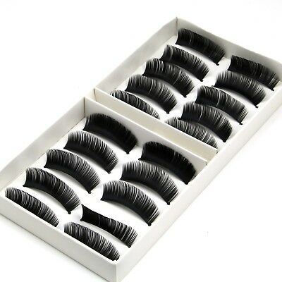 QUALITY 10 Pairs Thick Natural Fake False Eyelashes Eye Lashes With Glue UK