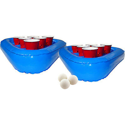 Inflatable Pool Beer Pong Rack Set - Bar College Floating Drinking Games - Beach
