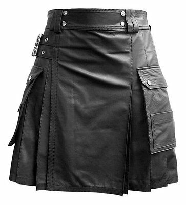 Mens Black Leather Gladiator Pleated Utility Kilt FLAT FRONT TWIN CARGO POCKETS