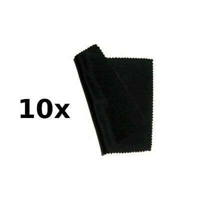 10  x Midnight Black Microfibre Glasses / Sunglasses Cleaning Cloths