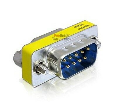 DB9 9 Pin Male to Male Gender Changer Converter PC Extension Adapter RS232