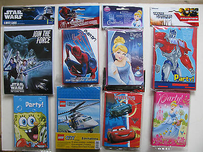 Party Invites Invitations Cards Parties Various Transformers Star Wars Spiderman