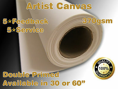 "Artists Canvas Roll 30"" or 60"" x 18m Art Painting oils / Acrylic - Double Primed"