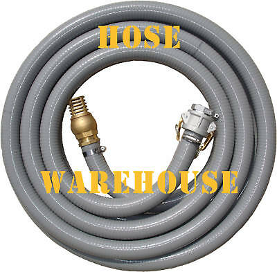 """Fire Suction Hose 1-1/2"""" x 10mtr, camlock, foot valve"""