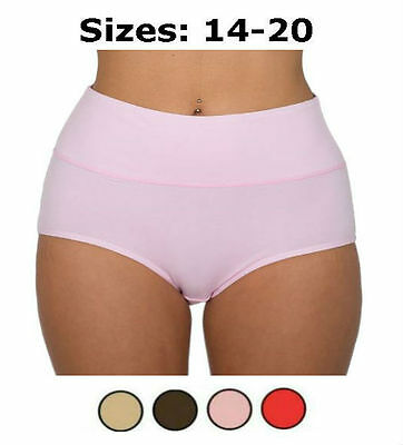 2x Women's Bamboo Fibre Brief Extra Tummy Support Control Underwear Sizes 14-20