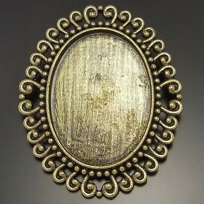 02141 Antique Bronze Tone Oval Lace Cameo Setting Pin Brooch 40*30mm Hot 4pcs