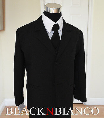 Black Tuxedo Suit with Tie for Kids Boys Toddler Infants Size 3-24 Months 2T-20