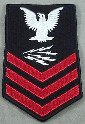 Navy PO 1 Information Systems Technician Merrowed Edge Embroidered Sleeve Rate