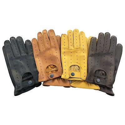 Top quality real soft leather men's driving gloves slim fit design retro 7011