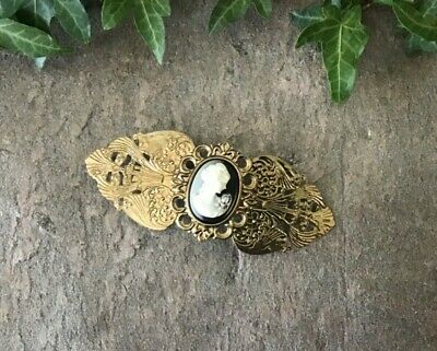 Cameo Gold Antique Style Hair clip Hairstyle Up do Vintage Retro 1980s Fancy