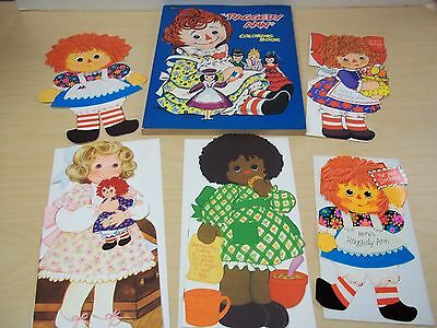 Vintage 1970's Raggedy Ann Book Cards + Coloring Book - Excellent