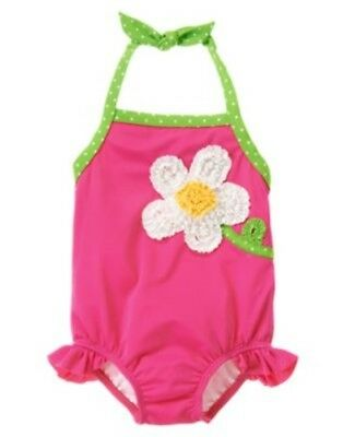 GYMBOREE SHOWERS OF FLOWERS PINK w/ FLOWER 1-PC SWIMSUIT 6 12 18 24 2T 4T NWT