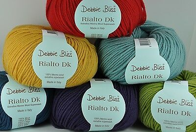 Debbie Bliss Rialto DK pure wool superwash yarn VARIOUS SHADES very smooth
