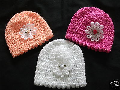 HANDCROCHETED ALL SPARKLY BABY HATS--ASTD COLOURS..0/3..3/6..6/9..9/12months