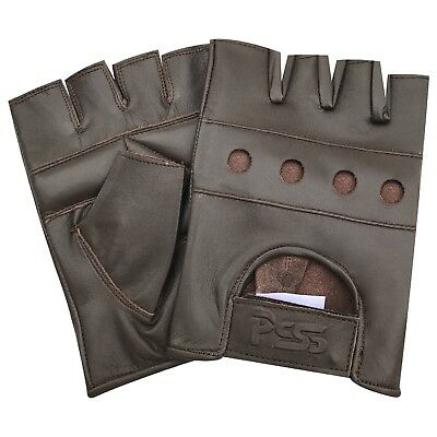 Soft leather fingerless men weight training cycling wheelchair gloves brown 502