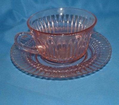 Depression Glass Hocking Queen Mary Cup & Saucer Pink set