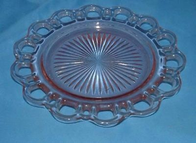 """Depression Glass Anchor Hocking Plate 8 3/8"""" Pink open Lace Old Colony"""