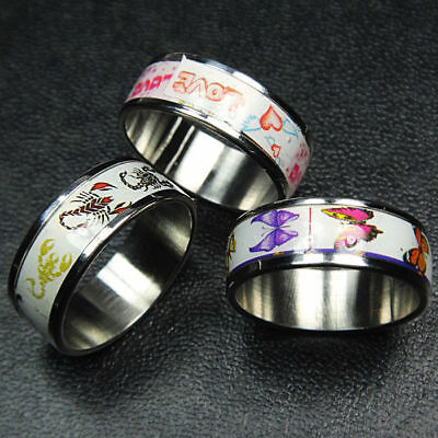 Unisex 10pcs Wholesale Jewelry Lots Stainless Steel Enamel Rings Free shipping