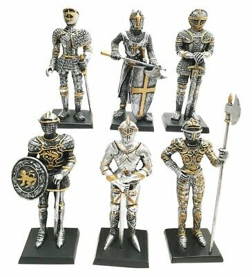 "Set Of 6 Miniature Small Medieval Knight Standing Guard Figurine Statue 4"" Tall"