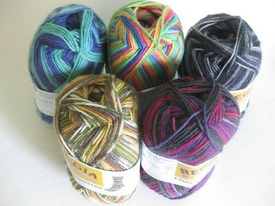 Regia colour 4ply sock yarn 50g self-patterning VARIOUS SHADES 75% wool