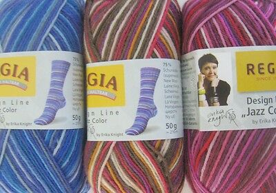 Regia 4ply sock yarn Erika Knight jazz 50g SIX SHADES 75% wool hard-wearing