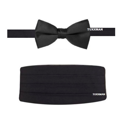 BLACK REAL SATIN CUMMERBUND AND BOW TIE Tuxxman Tuxedo Bowtie
