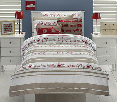 Juvenile Bedding - Emergency Vehicle Duvet Cover Set - Twin Size and/or Cushion