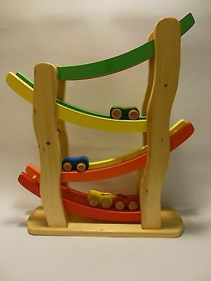 Rollover Racecars and Speeway Wooden Game for Toddlers by Back To Basics BNIB