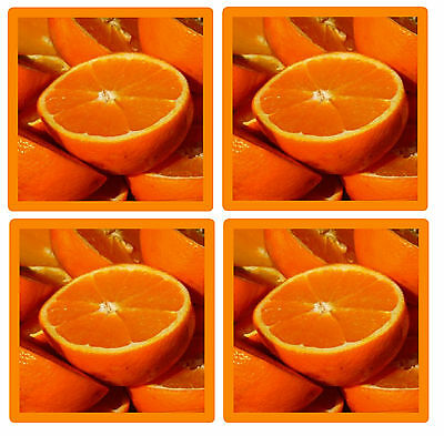 Oranges - Set Of 4 Fun Coasters - Gift/ Present - Brand New - Easy Clean
