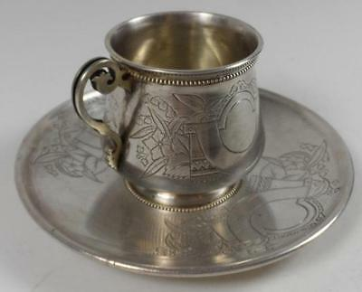 Antique Faberge Art Nouveau Cup Tray Plate Engraving Russian Sterling Silver 84
