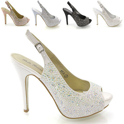 Ladies Diamante Sandals Womens Dressy Peep Toe Heels Wedding Prom Bridal Size