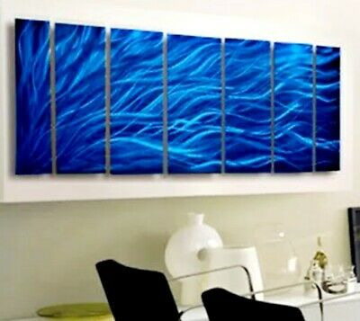 Statements2000 3D Metal Wall Art Abstract Painting Panels Rays of Hope Blue