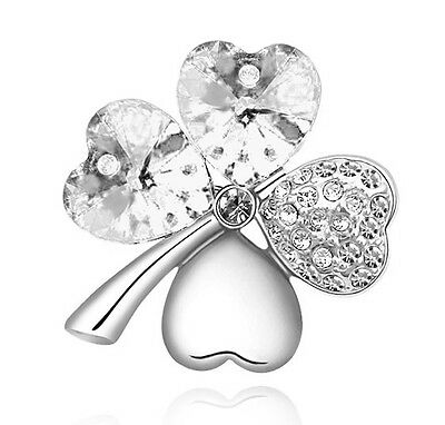 Bridal Small 4 Leaves Clover White Hearts Love Crystal Silver Pin Brooches BR86