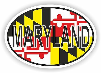 MARYLAND STATE OVAL FLAG STICKER USA UNITED STATES bumper decal car helmet