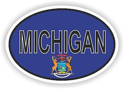 MICHIGAN STATE OVAL FLAG STICKER USA UNITED STATES bumper decal car helmet