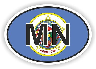 MN MINNESOTA STATE OVAL FLAG STICKER USA UNITED STATES bumper decal car helmet