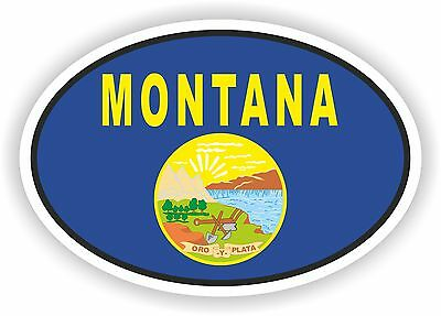 MONTANA STATE OVAL FLAG STICKER USA UNITED STATES bumper decal car helmet